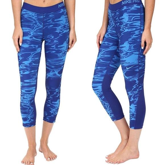 Nike Pants - NIKE Pro Training Crop Leggings Print Blue Marble
